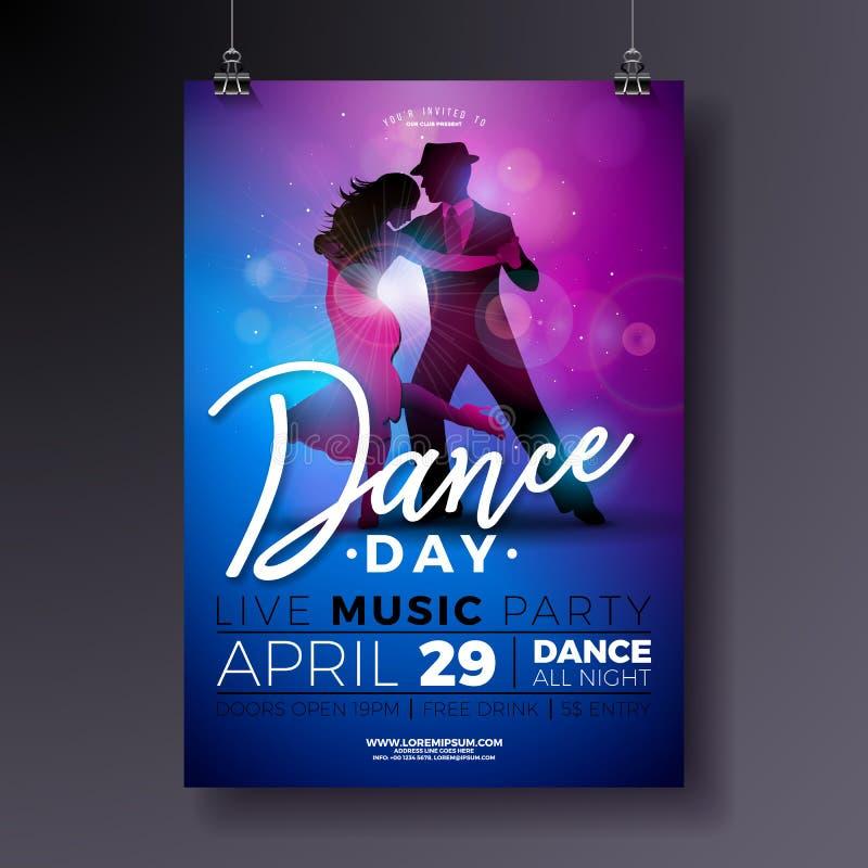 舞蹈天党与夫妇跳舞的探戈的飞行物设计在发光的五颜六色的背景 传染媒介庆祝海报 库存例证