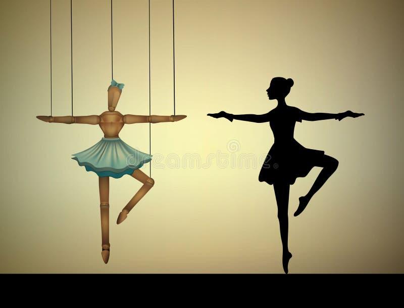 舞蹈家概念,芭蕾舞女演员牵线木偶和真正的人相比, 库存例证