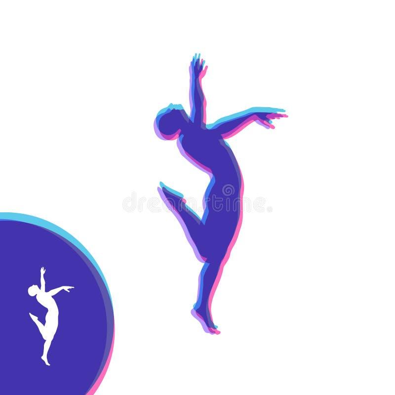 舞蹈家的剪影 体操运动员人摆在并且跳舞 体育标志 设计要素例证图象向量 也corel凹道例证向量 库存例证