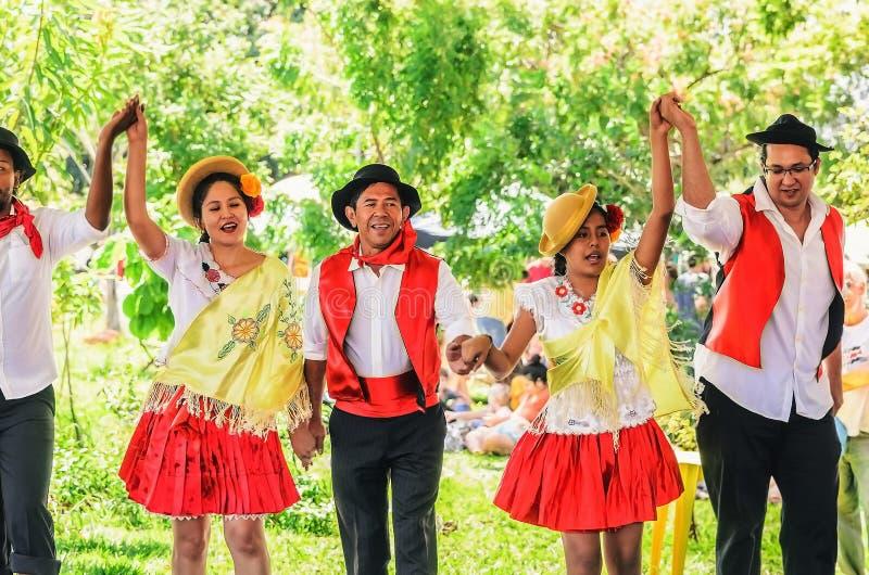 舞蹈小组多文化的Projecao的介绍 图库摄影