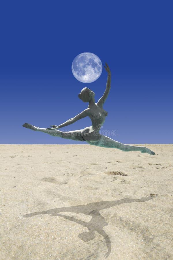 舞蹈月亮撒哈拉大沙漠 向量例证