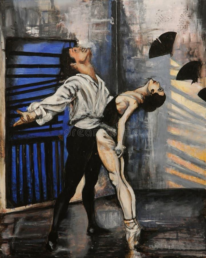 舞蹈演员优美的绘画 库存例证