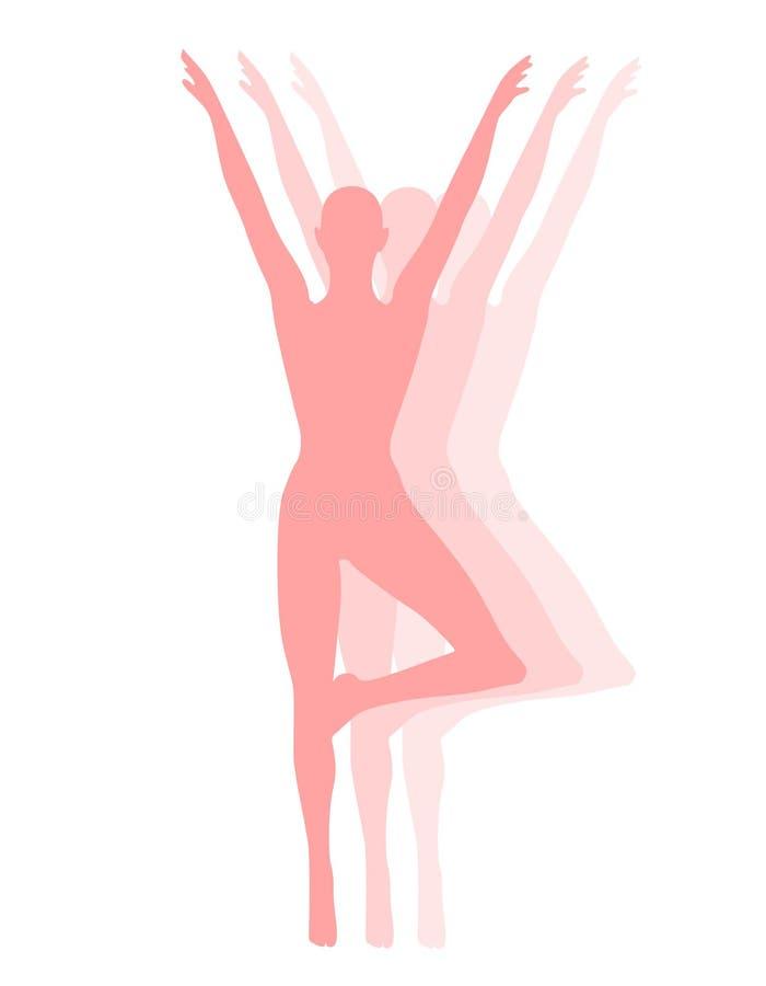 舞蹈演员健身粉红色剪影 向量例证
