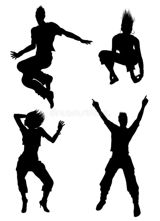 舞蹈演员剪影 库存例证