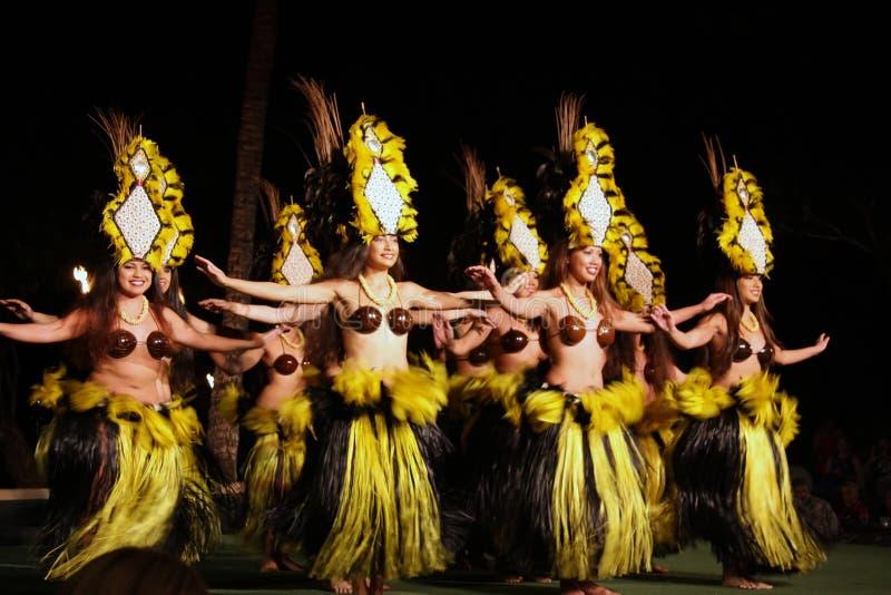 舞蹈演员夏威夷老lahaina luau 免版税库存照片