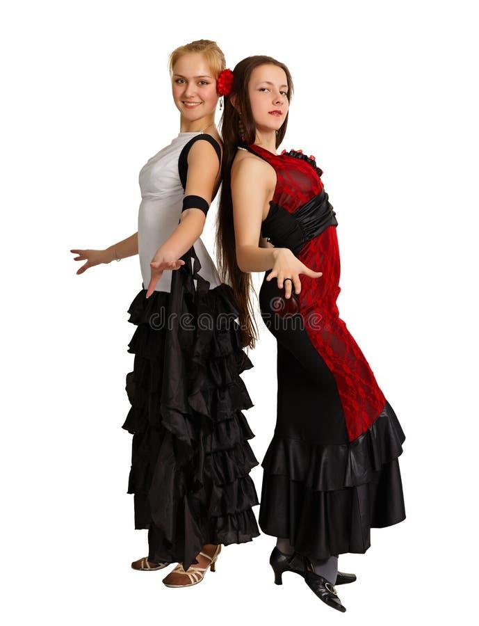舞蹈演员女孩二个年轻人 图库摄影