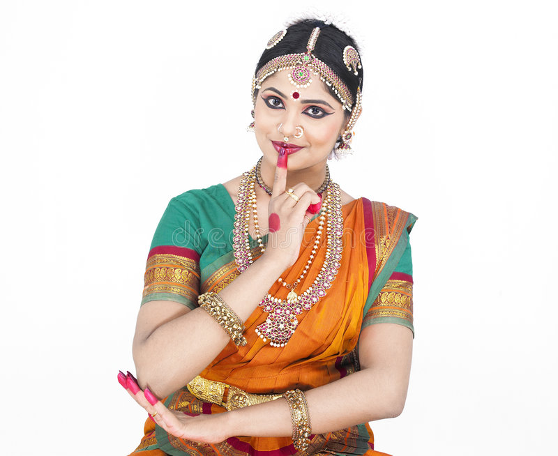 舞蹈演员女性印第安传统 库存图片