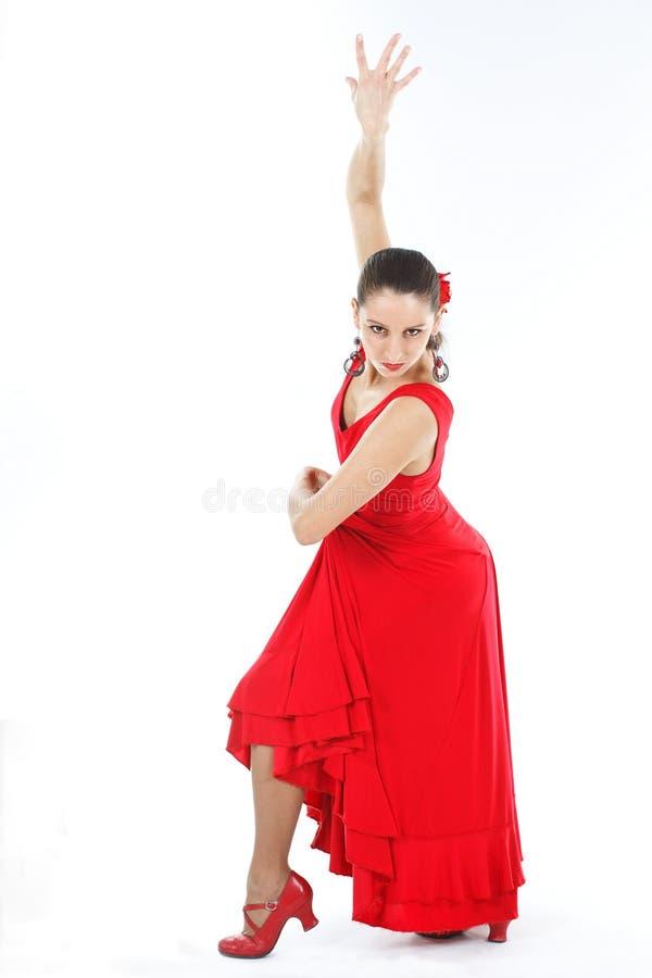 舞蹈演员礼服佛拉明柯舞曲红色 免版税图库摄影