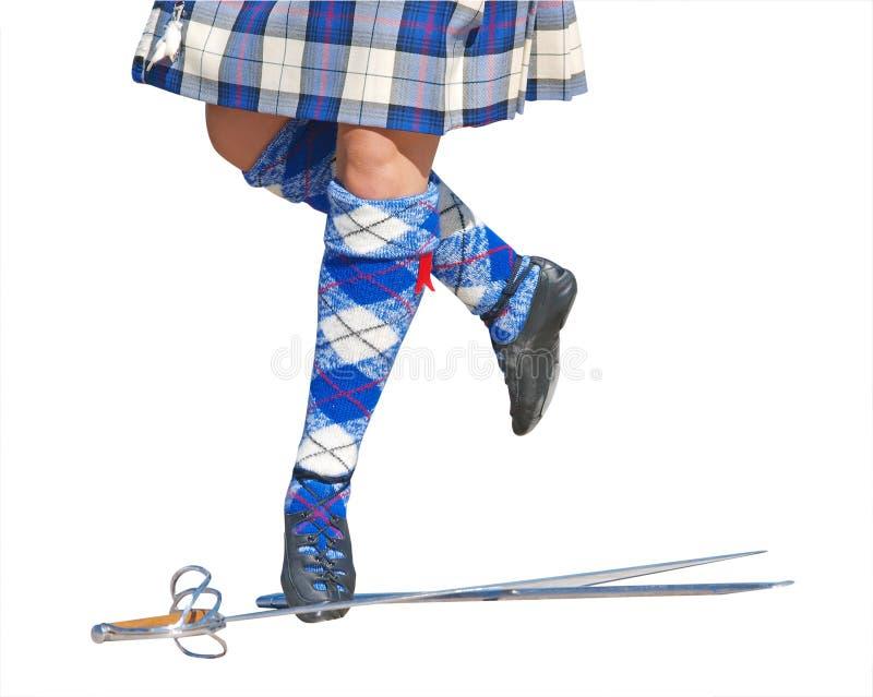 舞蹈演员英尺高地剑 免版税图库摄影