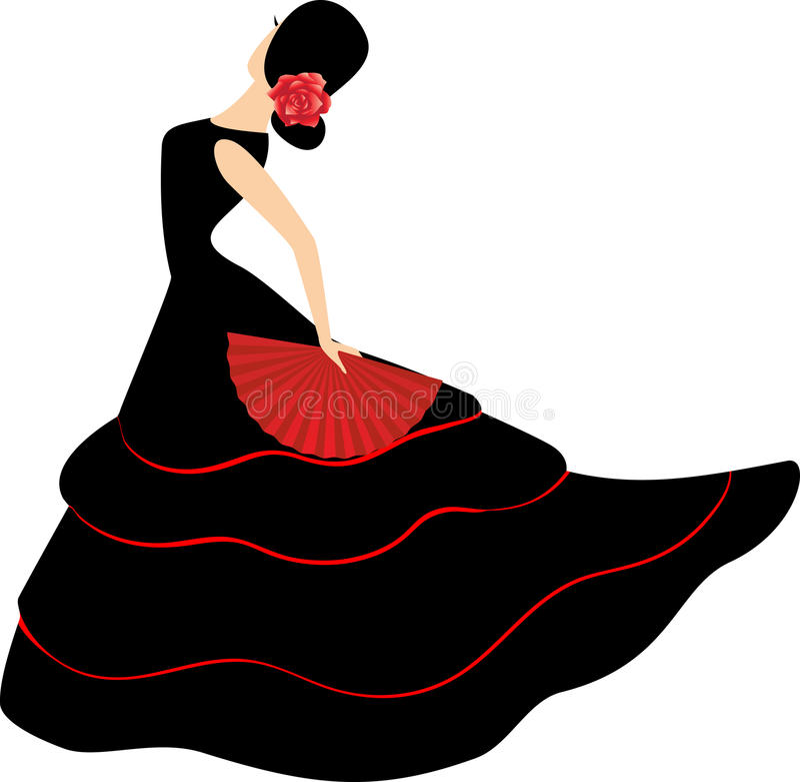 舞蹈演员风扇佛拉明柯舞曲女孩西班&# 皇族释放例证
