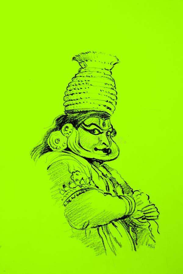 舞蹈演员kadhakali 向量例证