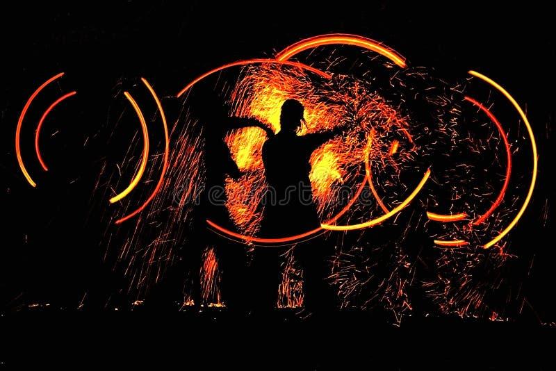 舞蹈火晚上 库存图片