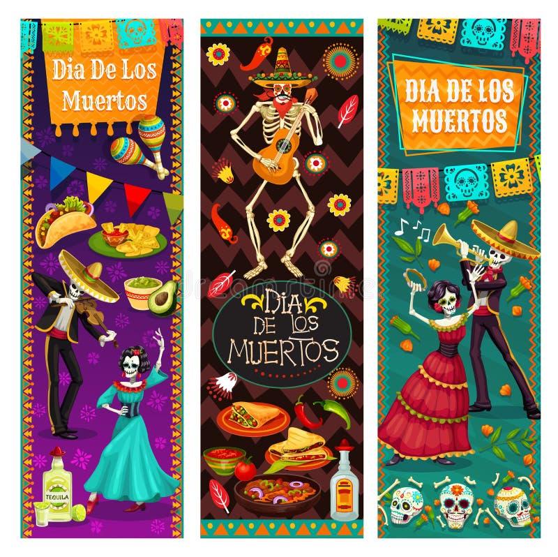 舞蹈生与死,Dia de los Muertos在墨西哥 皇族释放例证