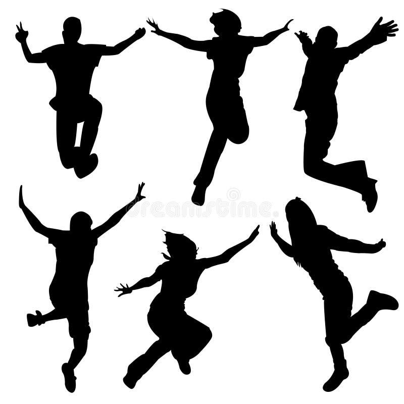 舞蹈跳的人剪影 库存例证