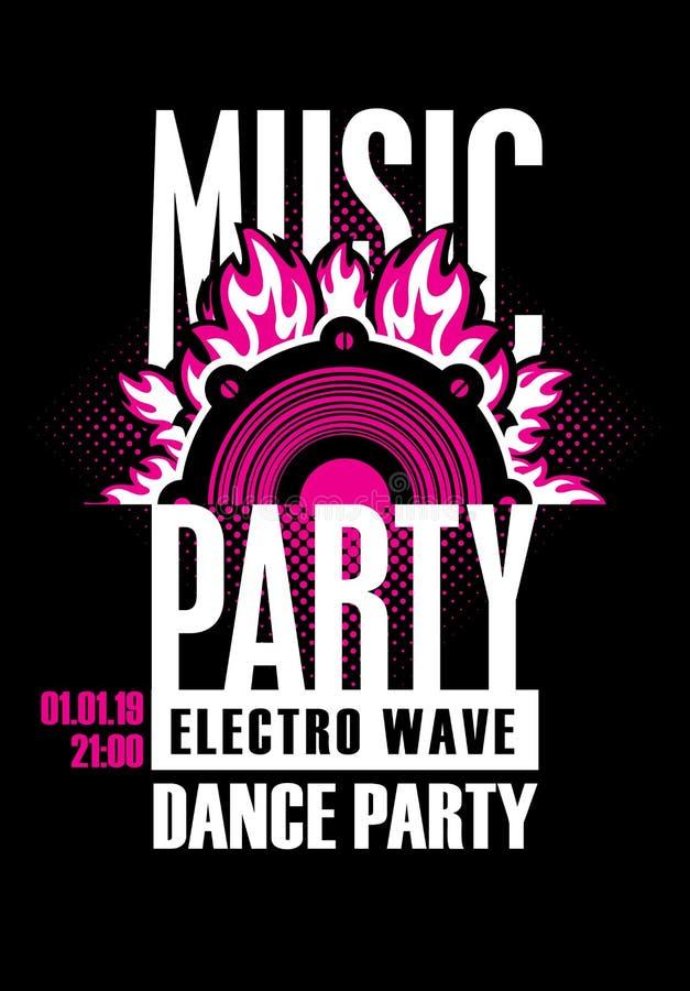 舞蹈音乐党的海报与音频报告人 库存例证