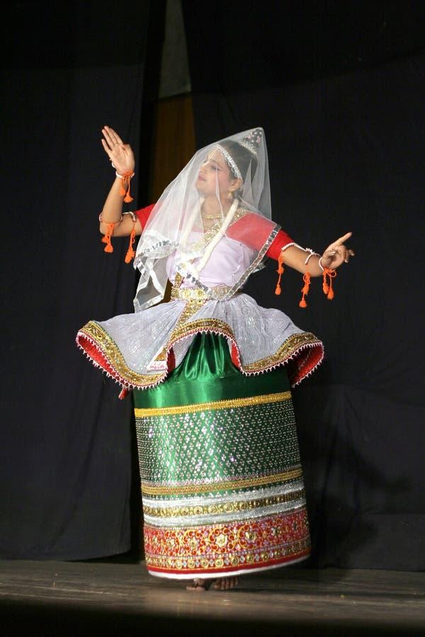 舞蹈manipuri savanabrata sircar smt 库存照片