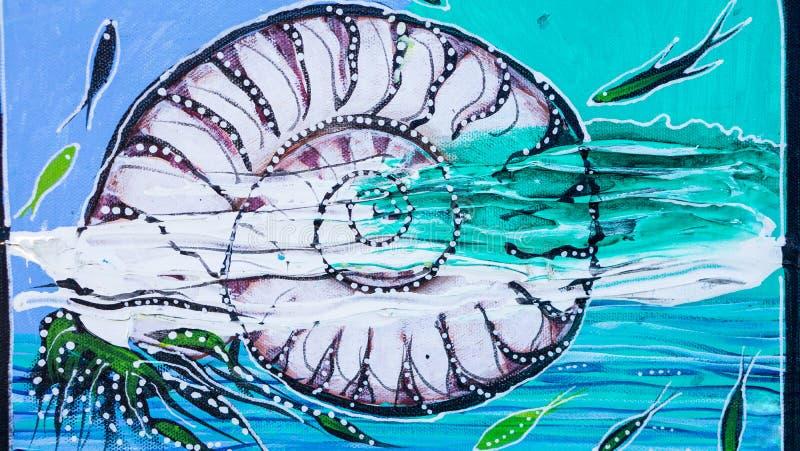 舡鱼壳帆布绘画 免版税图库摄影