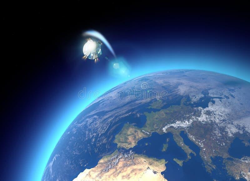航天器,乘员组载体轨道胶囊 在地球附近的轨道 地球的卫星看法 大气,摩擦 库存例证