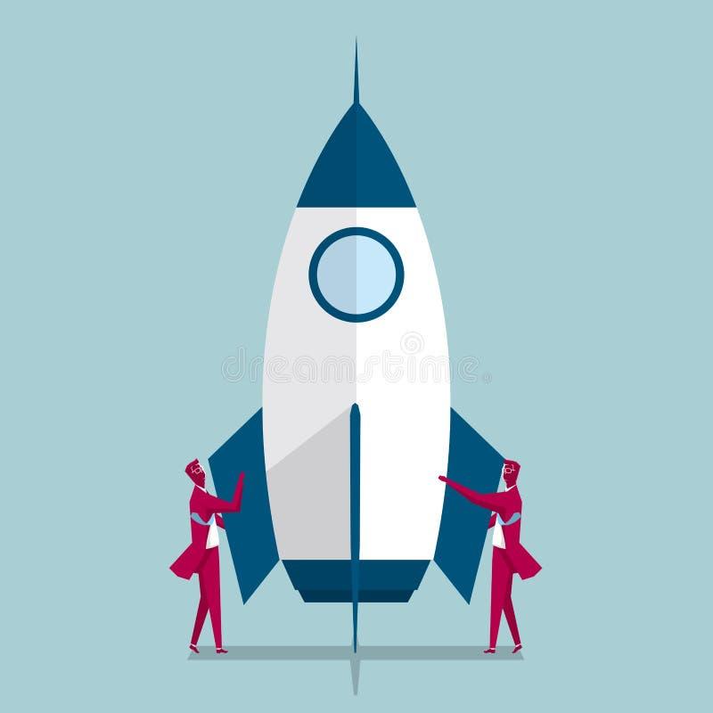 航天工业 两个商人站立在火箭的两边 向量例证