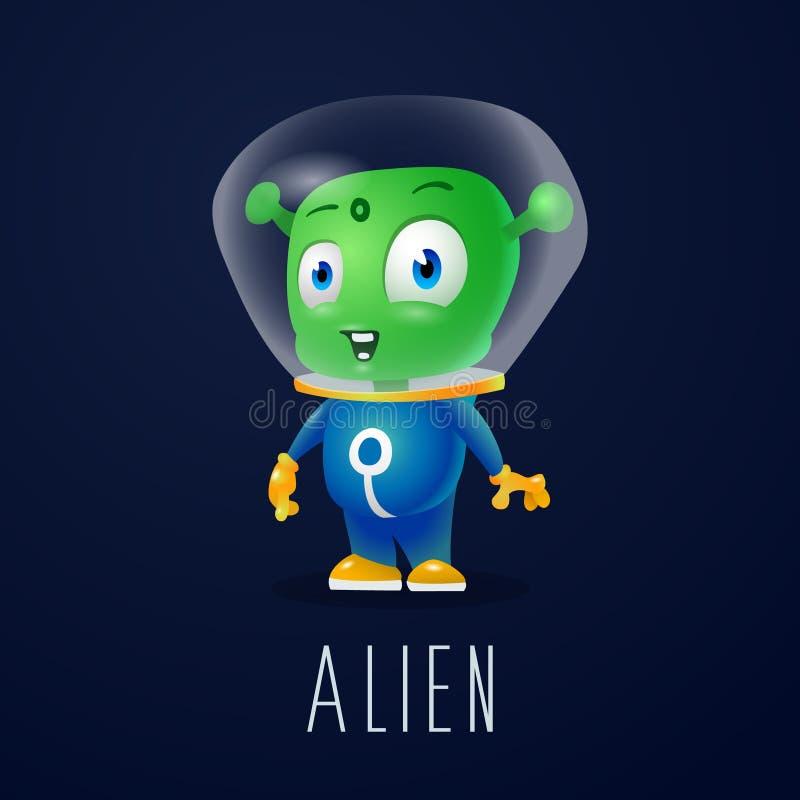 航天服的,友好的绿色火星,公司的字符滑稽的动画片外籍人在现代3D样式 免版税库存图片