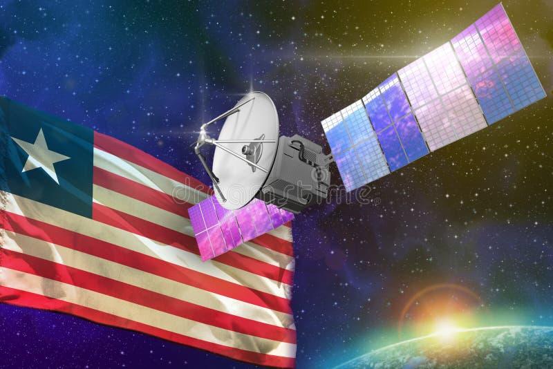 航天通讯技术概念-有利比里亚旗子的,3D卫星例证 皇族释放例证