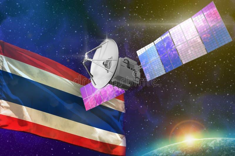 航天通讯技术概念-有泰国旗子的,3D卫星例证 皇族释放例证