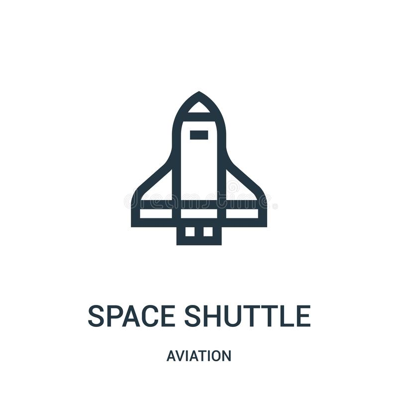 航天飞机从航空汇集的象传染媒介 稀薄的线航天飞机概述象传染媒介例证 线性标志为 向量例证