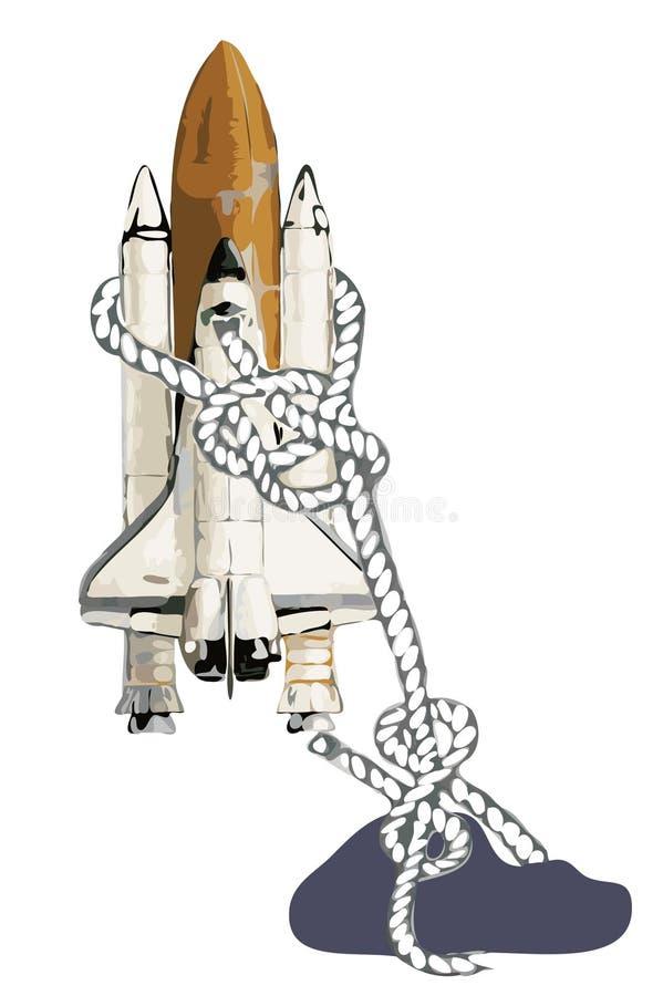 航天飞机空间石头附加 向量例证
