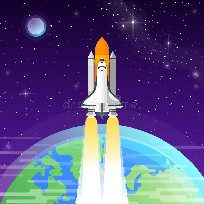 航天飞机进入外层空间 免版税库存照片