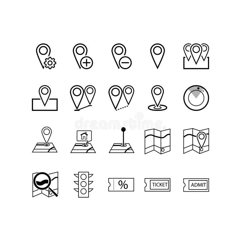 航海、方向、地图,交通和更多,稀薄的线象设置,导航例证 向量例证