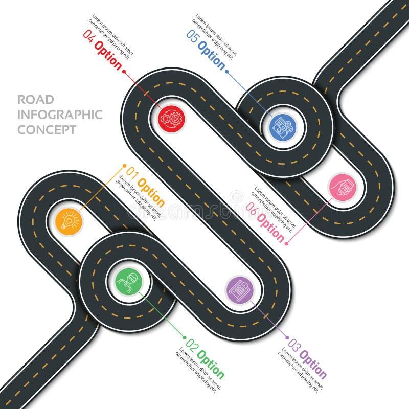航海传染媒介地图infographic模板 弯曲道路 库存例证