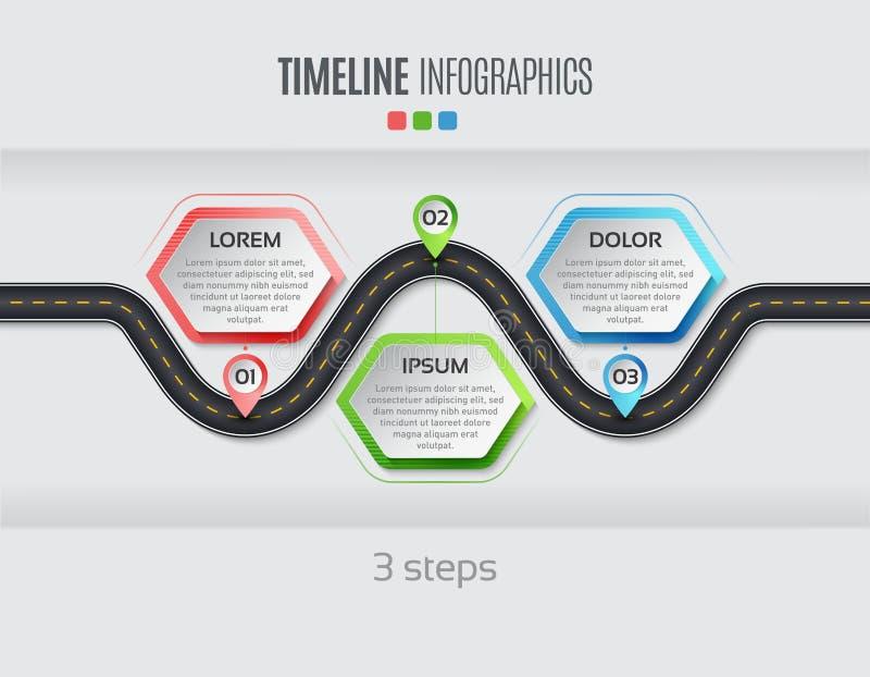 航海地图infographic 3步时间安排概念 传染媒介illu 库存例证