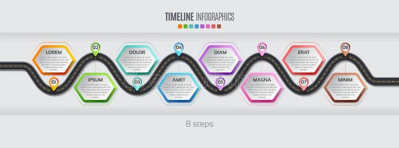 航海地图infographic 8步时间安排概念 传染媒介illu 库存例证