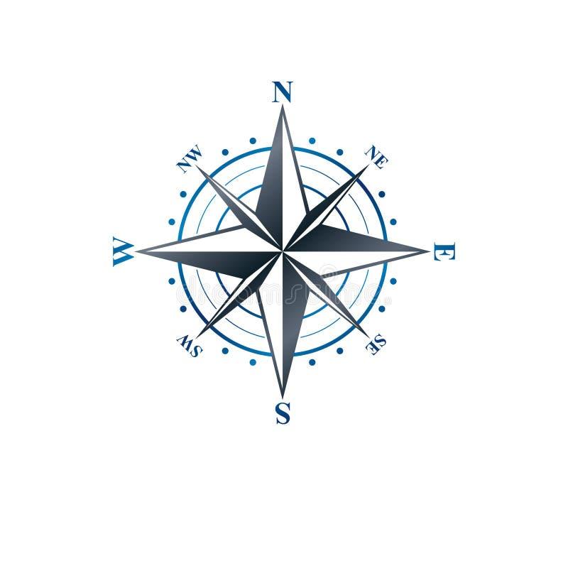 航海指南针象征,地理取向题材 纹章学 皇族释放例证