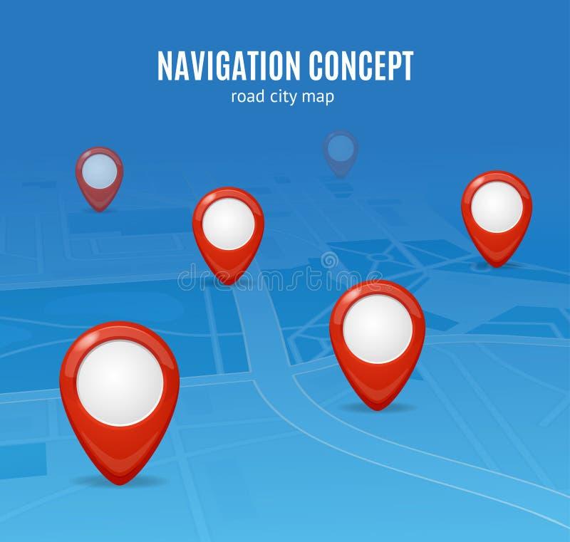 航海概念路城市地图 向量 皇族释放例证