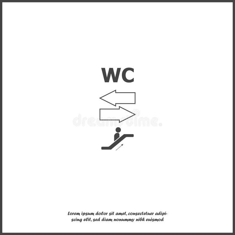 航海箭头的传染媒介图象显示洗手间和自动扶梯象的方向的在白色被隔绝的背景的 向量例证
