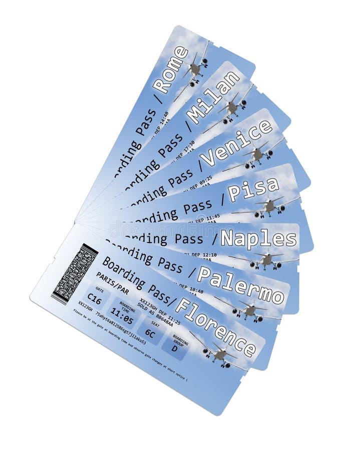 航空公司到最重要的意大利城市的登机牌票-概念图象 免版税库存照片