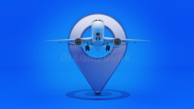 航空公司旅行概念 机场尖 在白色和别针隔绝的飞机 向量例证