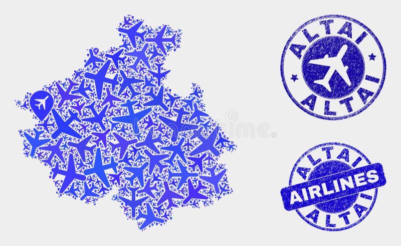 航空公司构成传染媒介阿尔泰共和国地图和难看的东西封印 库存例证