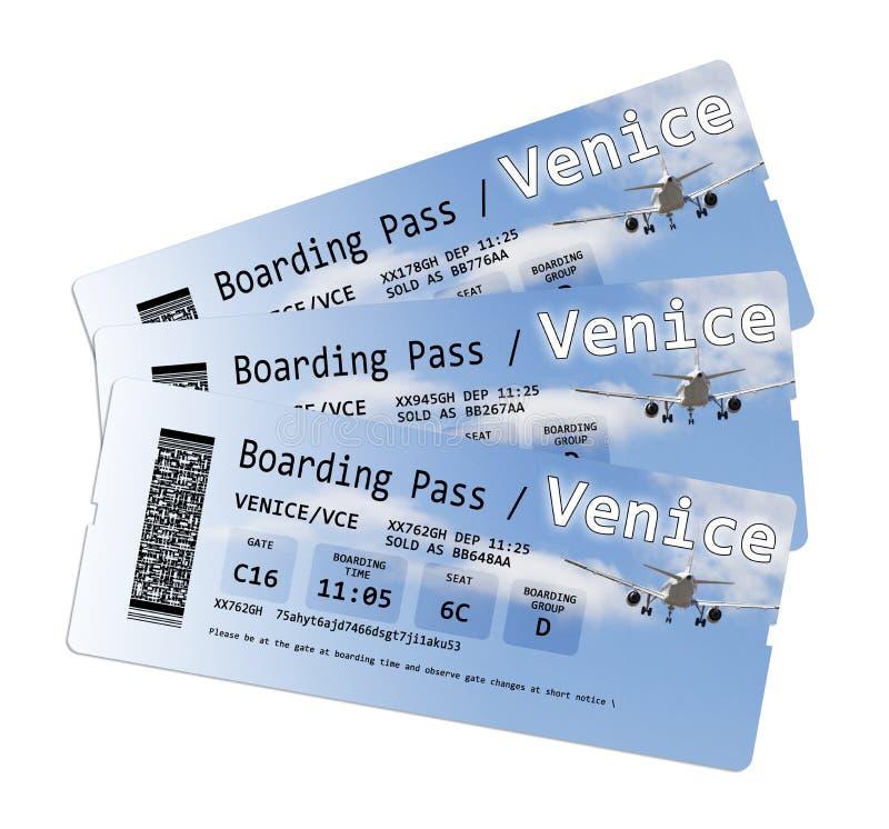 航空公司登机牌票向威尼斯在白色隔绝了 库存照片