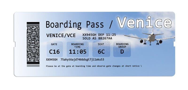 航空公司登机牌票向威尼斯在白色隔绝了 库存图片