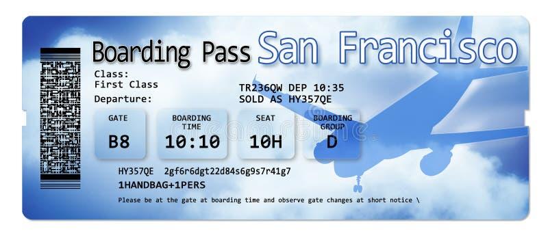 航空公司登机牌票向旧金山-图象的内容不完全被发明和包含下 免版税库存图片
