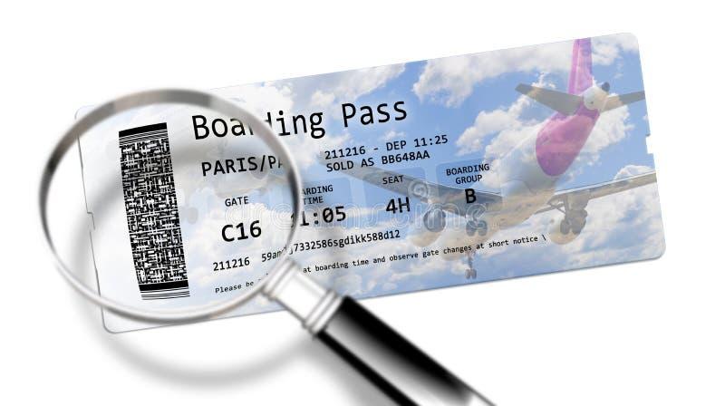航空公司登舱牌票-身份窃取的危险在 免版税库存图片