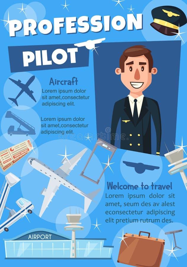 航空公司聘用或旅行公司的飞行员海报 库存例证
