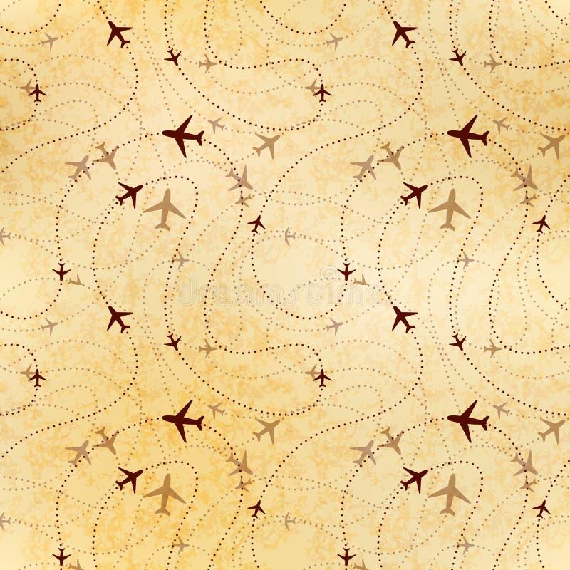 航空公司路线,在老纸,无缝的样式的地图 库存例证