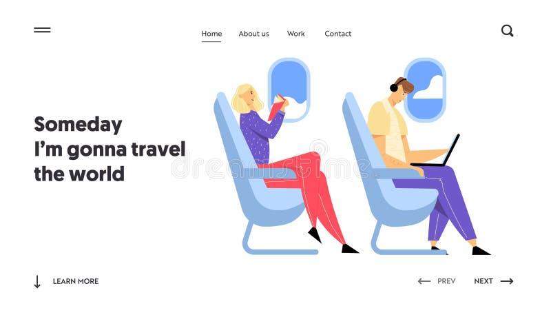 航空公司运输服务,旅行网站着陆页,年轻人在飞机工作坐膝上型计算机 皇族释放例证