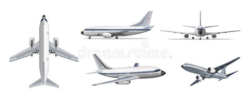 航空公司运输概念 有黄色和蓝色条纹的传染媒介飞机在白色背景 在上面,边,前面的飞机 库存例证