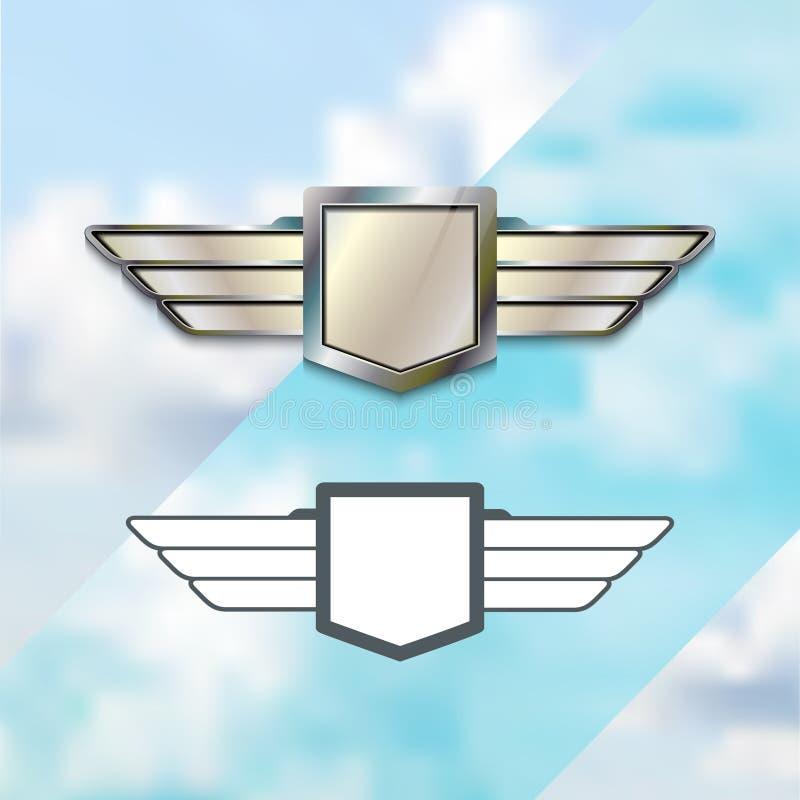 航空公司银色商标概念 皇族释放例证