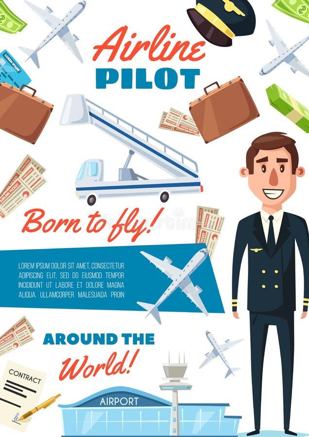 航空公司飞行员行业,制服的上尉 库存例证