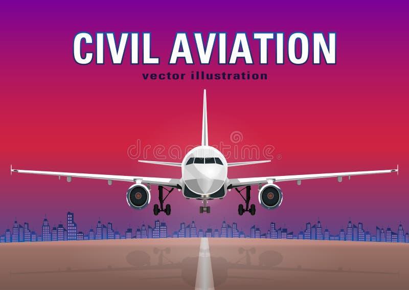 航空器导航,起飞飞机以日落天空为背景,城市房子和跑道,有空间的 皇族释放例证